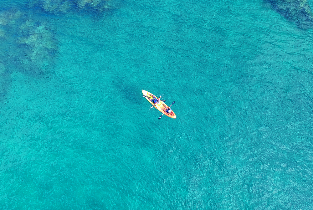 Glass-bottom kayak in Tobago